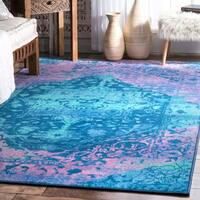 nuLoom Blue Vintage-inspired Overdyed Faded Medallion Rug (5' x 8') - 5' x 8'
