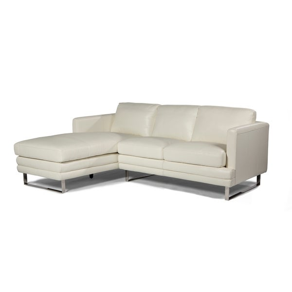 Lazzaro Leather Melbourne Collection White Top Grain And Steel Upholstered L Shaped Loveseat