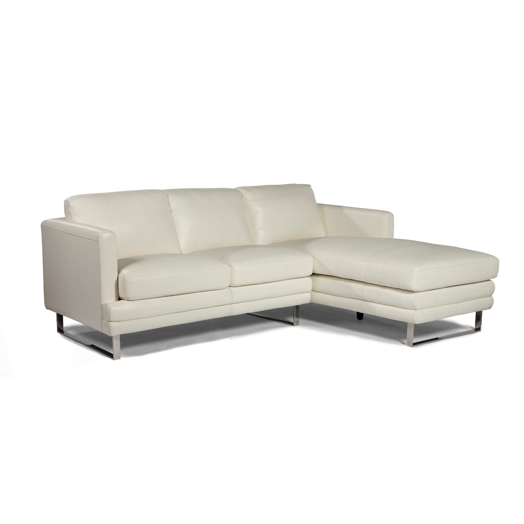 Shop Lazzaro Melbourne White Leather Loveseat Chaise Sectional Overstock 18502924