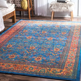 nuLoom Vintage-inspired Peacock Blue/Orange Floral Border Rug (8' x 10')