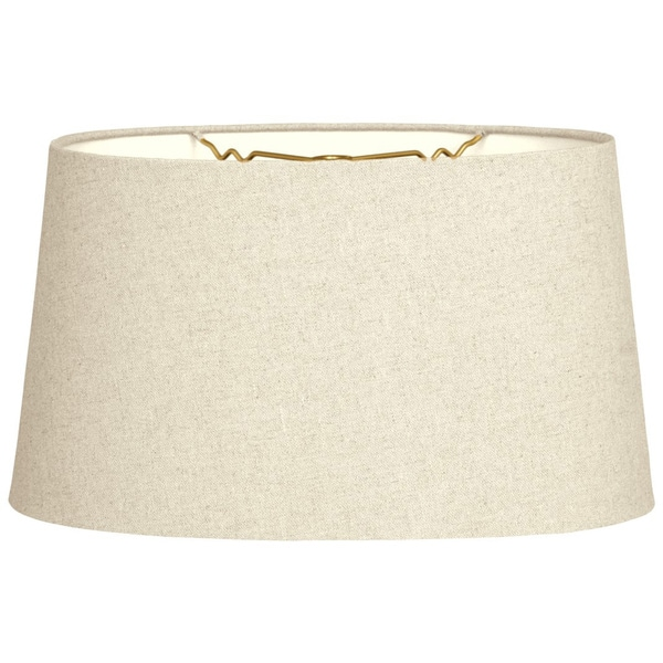 Royal Designs Shallow Oval Hardback Lamp Shade, Linen Beige, 16 x 18 x 9.5