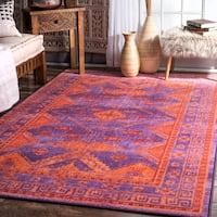 nuLoom Hellenic Muse Emblem Purple/Orange Nylon Abstract Area Rug - 8' x 10'
