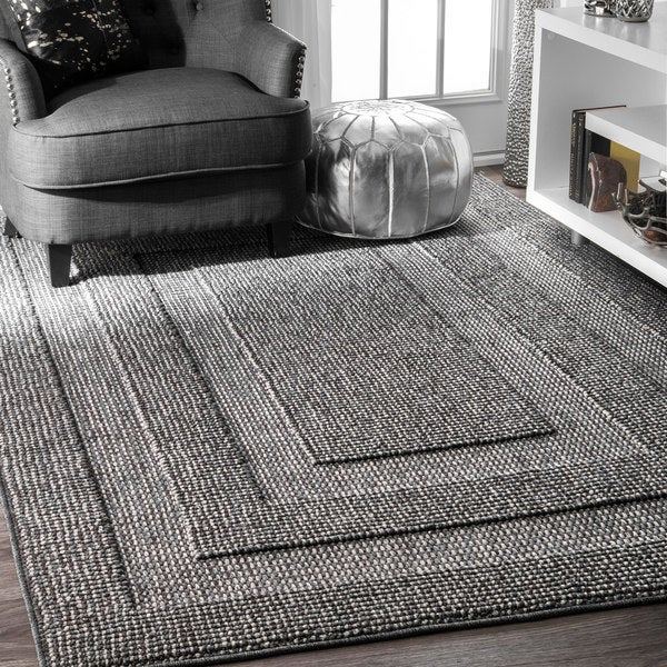 nuLoom Contemporary Double Border Solid Dark Grey Rug (8 ...