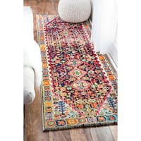 nuLOOM Distressed Traditional Flower Persian Multi Runner Rug - 2'6 x 12'