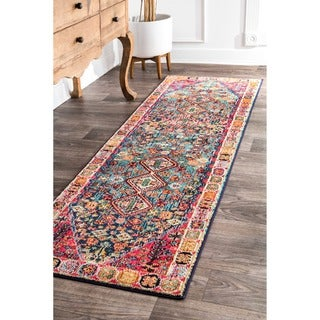 nuLOOM Distressed Traditional Flower Persian Multi Runner Rug (2'6 x 8')