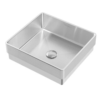 Whitehaus Collection Noah Plus Semi-recessed Basin with center drain