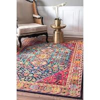 nuLOOM Distressed Traditional Flower Persian Multi Rug - 4' x 6'