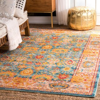 nuLoom Oriental-inspired Floral Herati Medallion Orange/Multicolored Indoor Rectangular Rug (5'3 x 7'7)