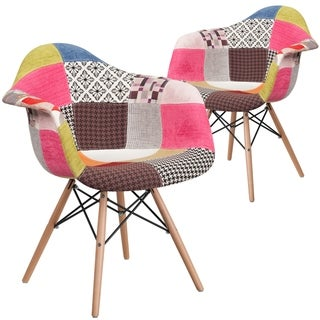 2 Pk. Alonza Series Fabric Chair with Wood Base