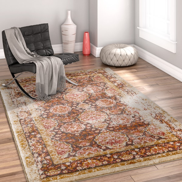 Well Woven Bohemian Vintage Traditional Brown Area Rug - 7'10 x 9'10
