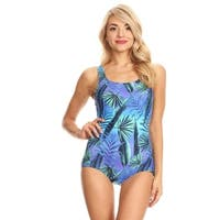 Famous Maker Blue Jungle Missy Boycut One Piece Swimsuit