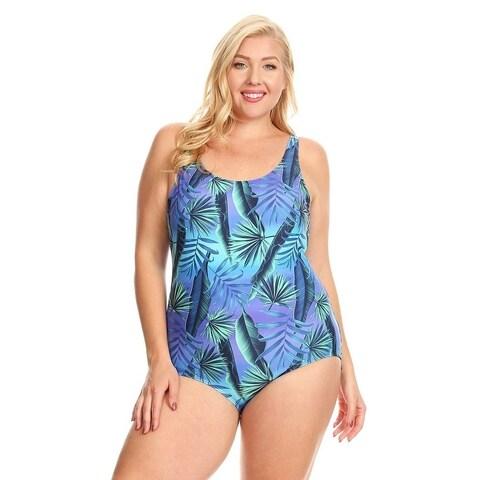 Famous Maker Blue Jungle Plus Size Missy Boycut One Piece Swimsuit