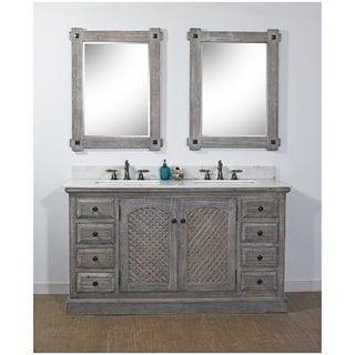 Link to Rustic Style 61-inch Bathroom Vanity  in Grey Driftwood Finish with Arctic Pearl Quartz Top-No Faucet Similar Items in Bathroom Vanities