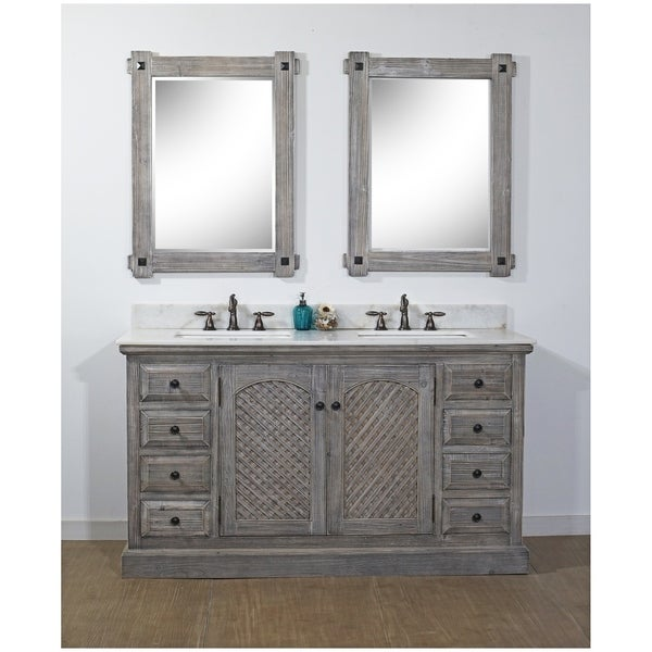 Rustic Style 61-inch Bathroom Vanity in Grey Driftwood Finish with Arctic Pearl Quartz Top-No Faucet