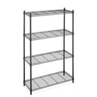 Black 4 Tier Shelf AdjustableSteel Wire Metal Shelving Rack|https://ak1.ostkcdn.com/images/products/18505135/P24617980.jpg?impolicy=medium