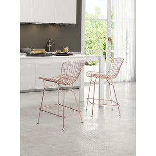Rose Gold Steel Wire Counter Chair (Set of 2)