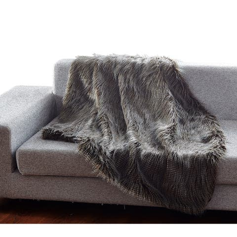De Moocci Luxury Fashion Peacock FauxFur Throw