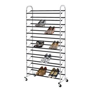 50 Pair Shoe Rack Storage Organizer 10 Tier Chorme Shoe Rack W/ Wheels