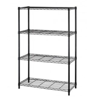 Black 4 Layer Shelf Adjustable Steel Wire Metal Shelving Rack