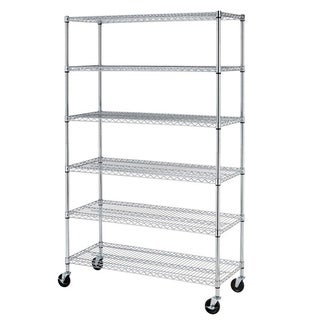 "Chrome 72""x48""x18"" 6 Shelf Adjustable Steel Wire Metal Shelving Rack"