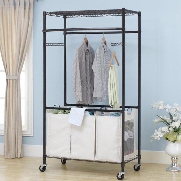 Shop Bronze 2-Tier Rolling Clothing Garment Rack Shelving Wire Shelf ...