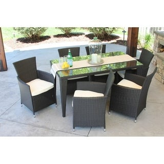 7pc Outdoor Black Wicker Patio Dining Set (std rectangle) (Option: Wicker)