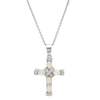 Piatella Ladies White Gold Tone Brass Cubic Zirconia and Opal Cross Necklace