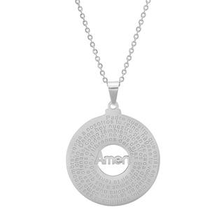 """Piatella Ladies Stainless Steel """"Padre Nuestro"""" Prayer Round Pendant Necklace in 3 Colors (Option: Pink)