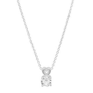 Piatella Ladies White Gold Tone Brass Heart Drop Pendant With Swarovski Crystal Elements