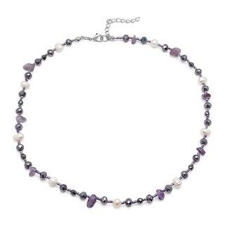 Piatella Ladies Genuine Freshwater Pearl, Gemstone, and Crystal Necklace in 2 Colors