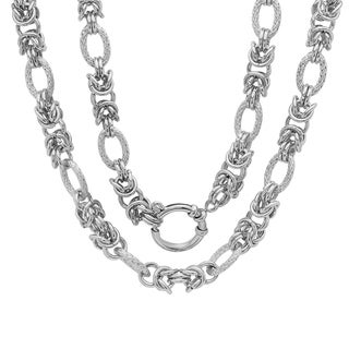 Piatella Ladies Stainless Steel Cluster Chain Link Necklace in 2 Colors