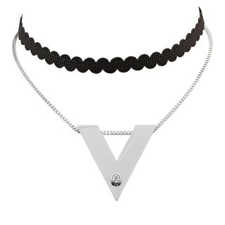 Piatella Ladies Black Fabric and Stainless Steel Choker Necklace