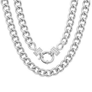 Piatella Ladies Stainless Steel Cuban Chain Link Necklace with Cubic Zirconia in 2 Colors