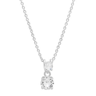 Piatella Ladies White Gold Tone Brass Double Drop Pendant With Swarovski Crystal Elements