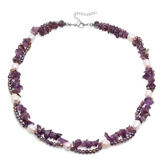 Piatella Ladies Genuine Freshwater Pearl, Gemstone, and Crystal Layered Necklace in 3 Colors
