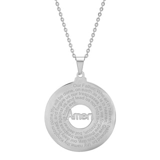 """Piatella Ladies Stainless Steel """"Our Father"""" Prayer Round Pendant Necklace in 3 Colors (Option: Pink)