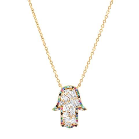 Piatella Ladies Gold Tone Brass Multi-Colored Cubic Zirconia Hamsa Necklace