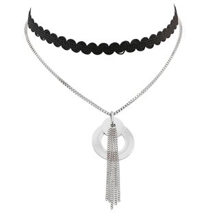 Piatella Ladies Black Fabric and Stainless Steel Choker Necklace with Circle and Tassel Drop Pendant in 2 Colors