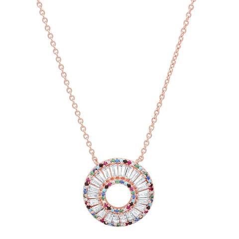 Piatella Ladies Rose Gold Tone Brass Multi-Colroed Cubic Zirconia Round Necklace