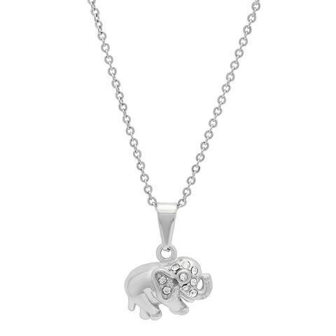 Piatella Ladies Stainless Steel Cubic Zirconia Baby Elephant Pendant in 2 Colors