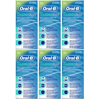Oral-B Super Floss 50 Pre-Cut Strands Each (Pack of 6)