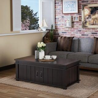 Furniture of America Teglar Espresso Rustic Slatted Coffee Table