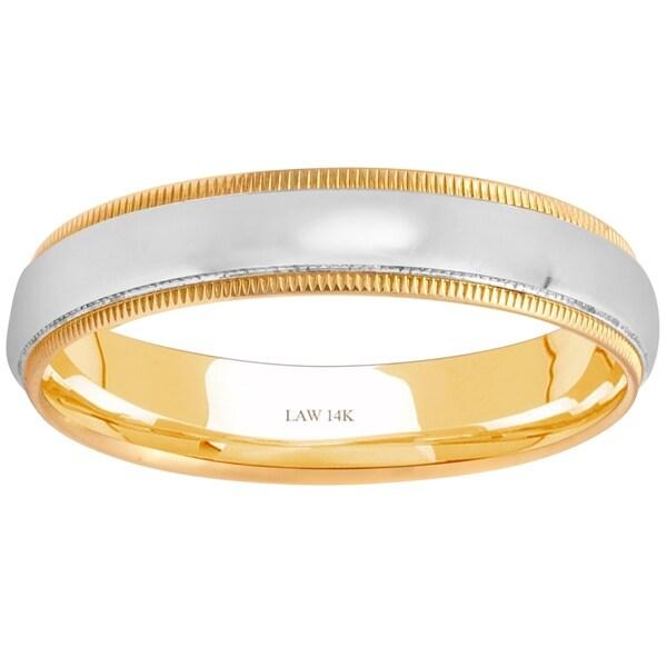 Mens Wedding Bands 14k Two Tone Gold Semi Dome Milgrain Comfort Fit Menx27