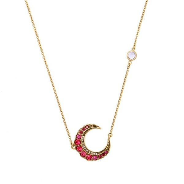 "Mint Jules Pink Rhinestone Moon Necklace 18"" - 20"" Adjustable"