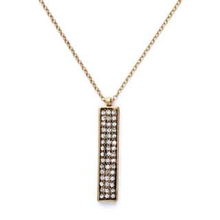 "Mint Jules Cut Crystal Rhinestone Vertical Bar Pendant Layering Necklace 30"" - 33"" Adjustable|https://ak1.ostkcdn.com/images/products/18505534/P24618246.jpg?impolicy=medium"