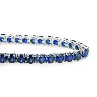 Sterling Silver 5mm 23.4 CTTW Lab-grown Blue Sapphire Tennis Bracelet