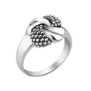 Sleek Sterling Silver Knot and Beaded Ribbons Ring