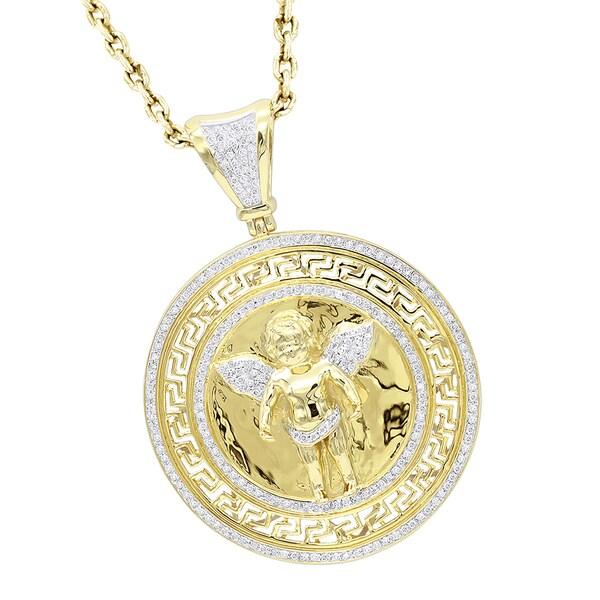 36d973b0f4d9 Shop Luxurman 14K Gold Baby Angel Diamond Medallion Pendant for Men ...