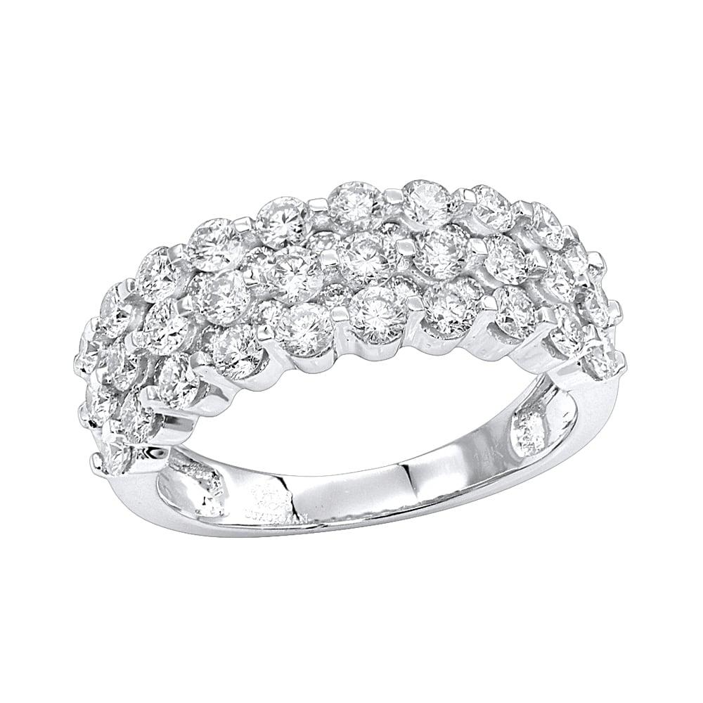 Luxurman 10K Gold 10 Row Diamond Wedding Band for Women Anniversary Ring