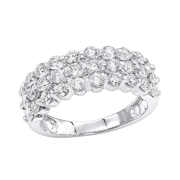 Luxurman 14K Gold 3 Row Diamond Wedding Band For Women Anniversary Ring